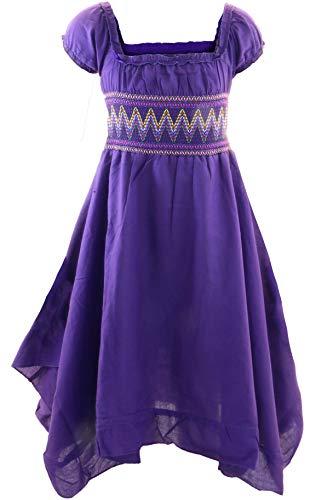 GILLSONZ Neu604-1PvDa Mädchen Kinder Sommer Freizeit Kleid (122/128, Lila)