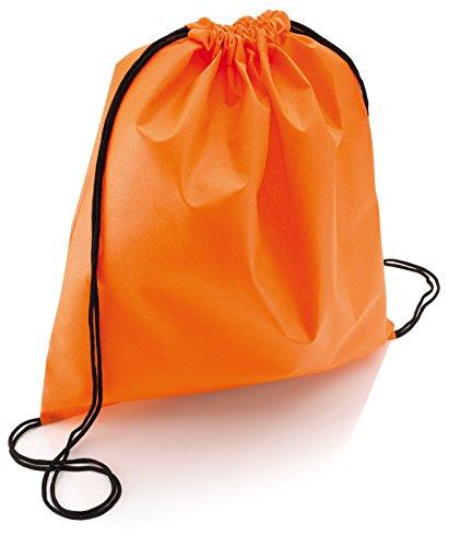 100 pezzi di Sacca Zaino con lacci,in TNT,Ultraleggera mis.37 x 41,Ultra leggero lifestyle viaggio borsa borsetta palestra zaino a spalla trend sport per uomini donne ragazzi ragazze bambini (arancio)