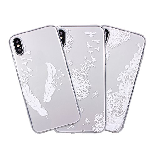 [2 Pezzi] Custodia iPhone X, iPhone 10 Trasparente Cover, MeiC Power Custodia Ultra Sottile Silicone Case Molle di TPU Protettiva Custodia Cover Case per Apple iPhone X / iPhone 10 (5,8 Pollici) Cassa J-3 Pezzi