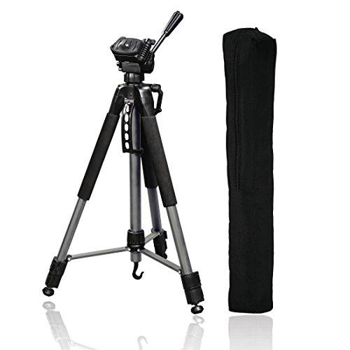 Hama Fotostativ Action 165 3D (Höhe 61–165 cm, 3-Wege Kugelkopf, Gummifüße und Spikes, Belastbarkeit bis 4 kg, Gewicht 1320 g leicht, Kamera Stativ inkl. Tragetasche) anthrazit