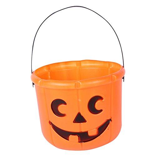 Kentop Halloween Süßigkeiten Eimer Kinder tragbarer Plastik Kürbis Eimer für Kinder oder Kostüm Party