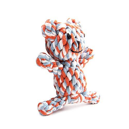 Aolvo Hundespielzeug Bärenform für Aggressive Kauer - Original Baumwolle - extra stabil - große Hunde und zahnende Welpen - strapazierfähig - Zahnseide - Klassischer Zerren - nahezu unzerstörbar -