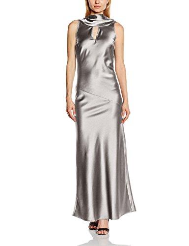 HotSquash Damen Kleid Silky Cowl Neck Maxi, Gr. 42 (Herstellergröße: 14), Silber (Silver Metallic)