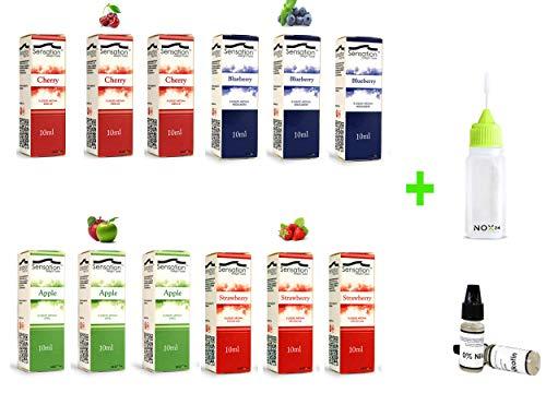 120ml E-Liquid - 12 Flaschen mit je 10ml Liquid Set für E-Zigaretten - fertig gemischt - inklusive ein kostenloses Nox24 Liquidflasche - Shisha Liquid ohne Nikotin - Probierset: (Frucht)