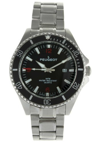 Peugeot 1031BK – Wristwatch Men's, Stainless Steel Silver Strap