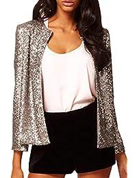 Giacche Donna Eleganti Primaverile Autunno Classiche Slim Fit Paillettes  Brillantini Giubbino Corto Vintage Moda Aperto A 1bcf0ce63d4