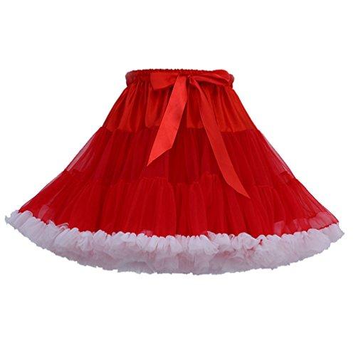 Layered Tüll-rock (Tütü Damen Tüllrock Mädchen Tutu Rock Petticoat Unterrock Ballett Kostüm Tüll Röcke überlagerte Rüsche Festliche Tütüs Erwachsene Pettiskirt Ballerina Für Dirndl Mini Rock Layered Rot Weiß)