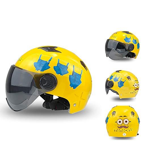 Kinderhelm Junge Sommer Motorrad Sonnenschutz Kind Niedlich Cartoon Altman Batterie Auto Kinderhelm geeignet für Kinder im Alter von 3-13 (49cm-60cm).-S-13