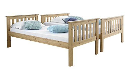 Happy Beds Atlantis Pine Finished Solid Wooden Triple Sleeper Bunk Bed With 2x Memory Foam Mattress