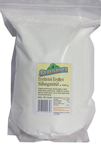 Erythritol Erythrit Premium Zuckerlos kalorienfrei, vegan, 3 kg im wiederverschließbarem Beutel