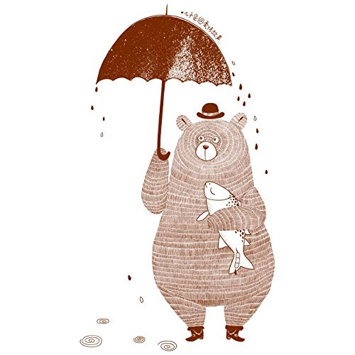 CYJQT Lindo Oso De Café De Dibujos Animados Con Paraguas