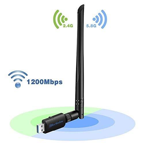 USB WLAN Adapter Antenne 1200 mbps - Dual Band 2.4G/5G WLAN ac Drahtlos Netzwerk Dongle mit Hochleistungsantenne für Desktop Laptop PC, Unterstützt Windows XP Vista/7/8/8.1/10 Mac OS X 10.4-10.12