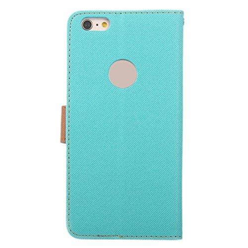 Phone case & Hülle Für iPhone 6 / 6S, Brüllen Streifen Textur Leder Tasche mit Halter & Card Slot & Wallet ( Color : Brown ) Blue