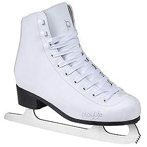 Playlife Eiskunstlauf Schlittschuhe Classic White | Knöchelpolster | Damen | weiße Schlittschuh + Armband