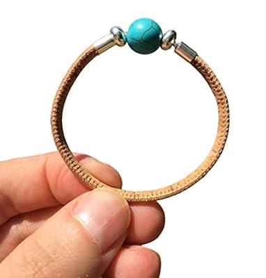"""Bracelet""""Eveil"""" : argent 925/1000ème, pierre naturelle (turquoise) et liège (cuir vegan). Esprit bohème. Cork. Bohostyle. Bracelet Femme. Litothérapie"""