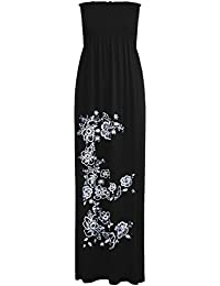 fe245cc0e8 Oops Womens Floral Printed Sheering Gathered Boobtube Bandeau Long Maxi  Dress