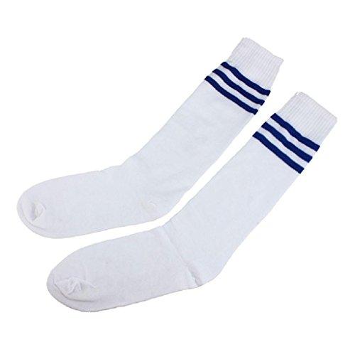 Gestreiften Lange Socken (Fußball Socken Herren Damen Team Athletic Streifen Rohr Knie Strumpf Absolvierte Leistung Cheerleading Tube Hockey Sport Strümpfe Von BakeLIN (Weiß+Blau))