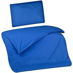 Aminata Kids Kinder-Bettwäsche 100-x-135 cm Uni-Farben EIN-farbig-e Baby-Bettwäsche 100-% Baumwolle Renforce Marine-blau Mädchen und Junge-n