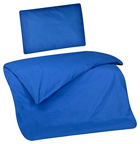 Aminata Kids Kinder-Bettwäsche 100-x-135 cm Uni-Farben EIN-farbig-e Baby-Bettwäsche 100-% Baumwolle Renforce Marine-blau Mädchen und Junge-n (Bettwäsche Baby Dinosaurier)