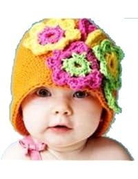 LadyMYP©Handgemachte Strickmütze, Babymütze, Kindermütze, Hüte, 100% Wolle, orange Mütze mit grüner, gelber und rosa Blüte