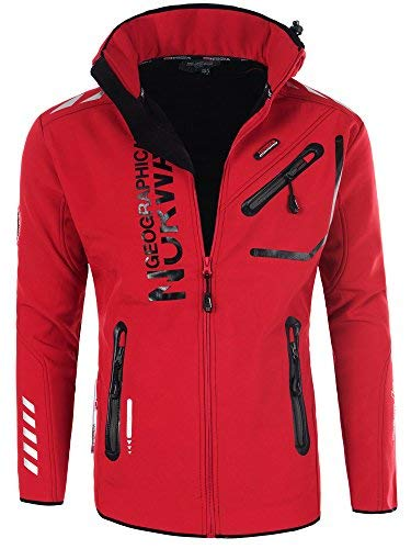 Geographical Norway - Chaqueta Rainman Turbo-Dry para hombre con tejido softshell y capucha rojo S