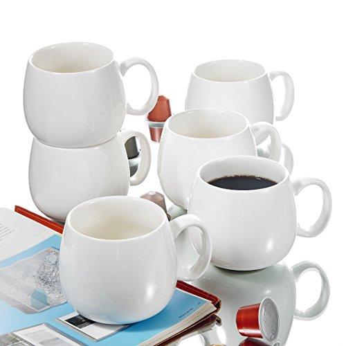 Panbado Porzellan Kaffeetassen Weiß, 6 teilig 375 ml Tee Kaffee Tassen Set