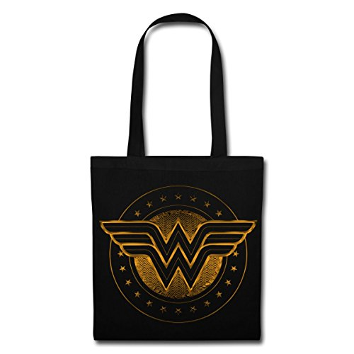 Spreadshirt DC Comics Wonder Woman Logo Étoilé Tote Bag, noir