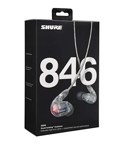 Shure SE846-CL Professionellen Ohrhörer mit Sound-Isolating-Design, vier High-Definition-MicroDrivern und transparentem Kabel mit 3,5-mm-Klinken für definierte Höhen und echte Subwoofer-Leistung - 3