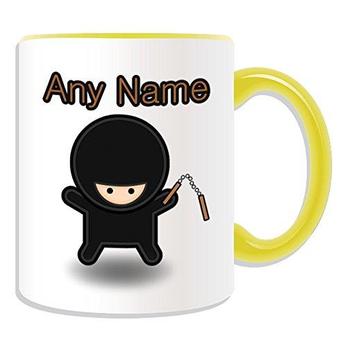 chenk–Ninja mit Nunchaku Tasse (Märchen Design Thema, Farbe Optionen)–alle Nachricht/Name auf Ihre einzigartige Tasse–Nunchucks chainsticks, keramik, Gelb (Ninja Mit Nunchucks)