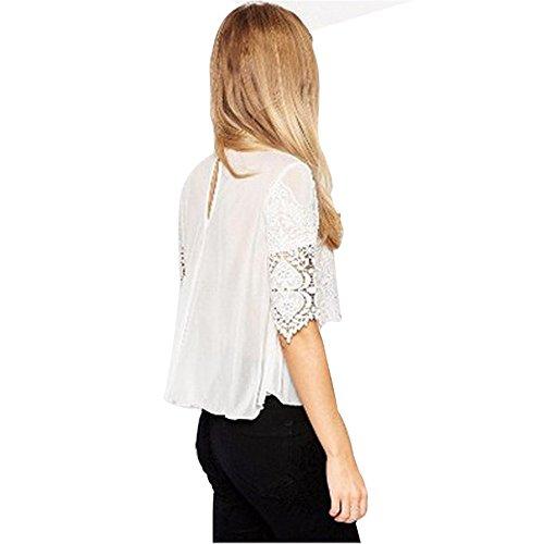 JOTHIN 2017 Damen Kurz ärmel Chiffon Bluse Perspective Sommer Spitze T-shirt Einfarbige Aushoshlen Tops Weiß