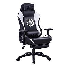 Dowinx Chaise Gaming Ergonomique Inclinable de Style de Course avec Support Lombaire pour Massage, Fauteuil de Bureau pour Ordinateur, en Cuir PU, Repose-Pieds Rétractable (Noir&Blanc)
