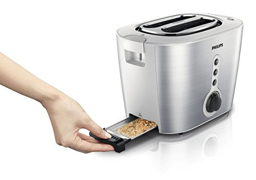 Philips HD2636/00 Toaster aus Edelstahl, 1000 W, mit Brötchenaufsatz, Silber -