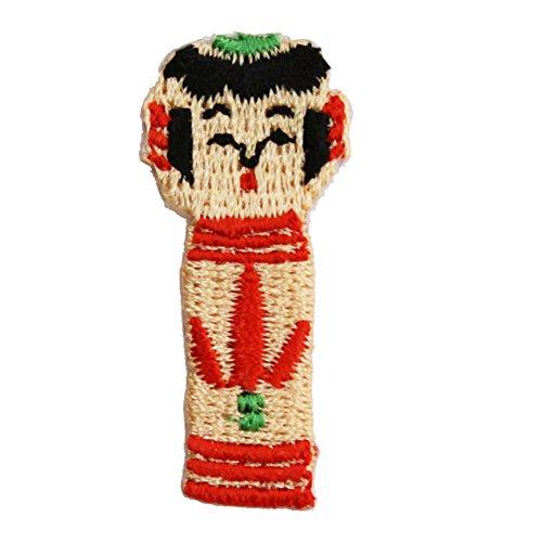 Traditionelle japanische Kokeshi Puppe Design zum Aufbügeln bestickt Mini Patch Aufnäher