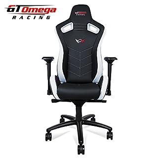 GT Omega deporte silla de oficina de piel, diseño deportivo, color blanco y negro