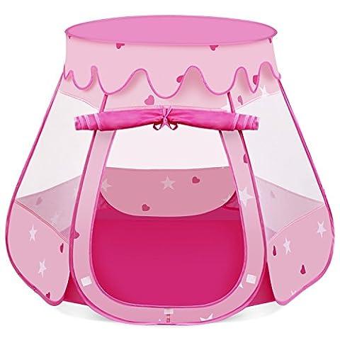 INTEY Tente Portable Chateau de Princesse Pliable Tente de Jeu Pop Up Jardin Plage pour enfant