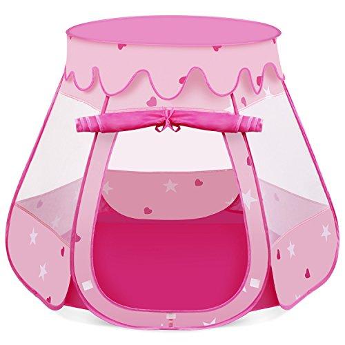 INTEY Spielzelt 6-eck Prinzessinnenzelt Kinderspielzelt Spielhaus Kinderzelt für Princess mit 1 Türen, inkl. Tragetasche, Rosa (Prinzessin Material Für Raum)