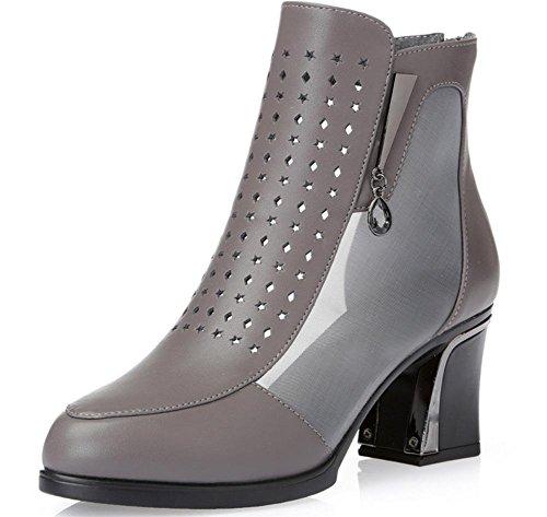Frau im Frühjahr und Herbst einzelnen Schuhe aushöhlen Mesh Stiefel dick  mit hochhackigen Damenstiefeln weiblichen kühlem