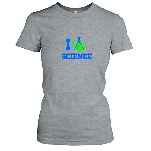 TEXLAB - I love Science - Damen T-Shirt Graumeliert