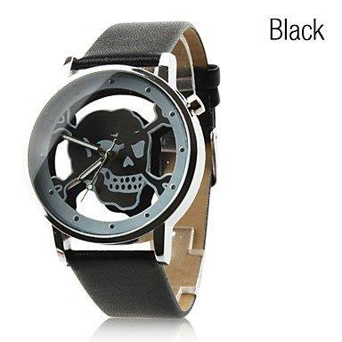 Fenkoo Damen Modeuhr Quartz PU Band Armbanduhr / Totenkopf Schwarz / Weiß / Rosa (schwarz)