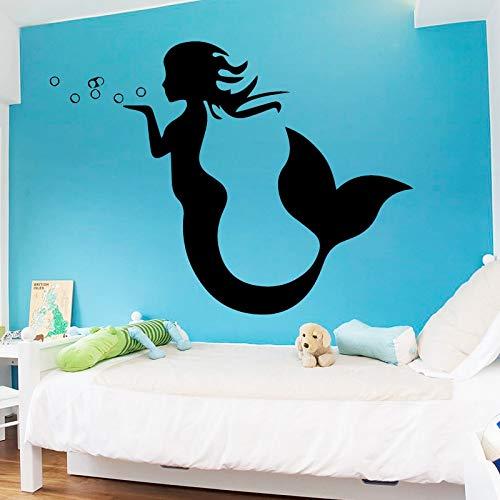 Qsdfcc Kleine Meerjungfrau Wandaufkleber Für Wohnkultur Wohnzimmer Mädchen Zubehör Aufkleber Wasserdicht Vinyl Kunst Stickers58Cx43Cm