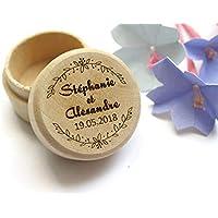 Boîte à alliances personnalisée pour mariage, boîte bois style champêtre gravée avec les prénoms et la date du mariage