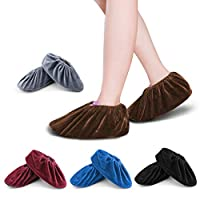 FOCCTS Washable Overshoes Reusable Shoe Covers, 5 Pairs Flannel Overshoes Non-Slip Shoe Covers for Laboratory Computer Rooms & Daily Use Reusable Indoor Elastic Boot Cover 5 Colors