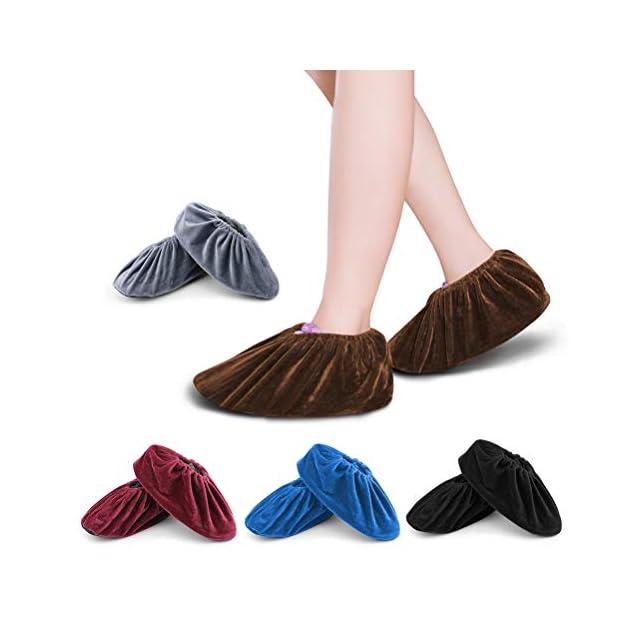 2536145582488d FOCCTS 5 Paires Surchaussures lavables couvre-chaussure anti glisse  Réutilisables Antidérapant Chausson avec Flanelle pour ...
