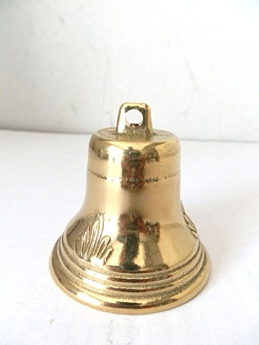 Cloche sonnette en laiton poli à suspendre diam.7 cm