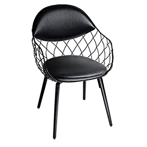 Magis Piña Armchair in black ash and cushions in real black leather
