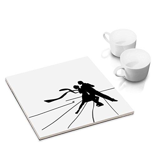 Sottobicchieri in ceramica con feltro per la tavola e la cucina - 15 x 15 cm - con progetto grafico: ballerini di tango