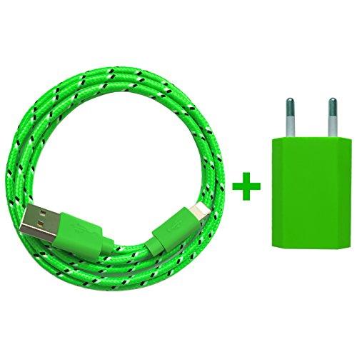 USB Netzteil 5V 1A + 2m Nylon USB Ladekabel Datenkabel SET kompatibel mit [Apple iPhone 10 X 8 8 Plus 7 7 Plus 6S 6S Plus 6 6 Plus 5S 5C 5 SE, iPad | iPod] grün - Grün 5. Ipod Ladegerät Generation