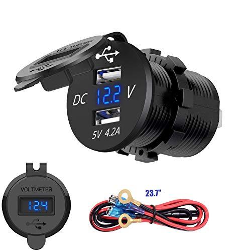 YGL Dual USB Caricabatteria per Auto 2.1A e 2.1A Presa USB GUIDATO Voltmetro Digitale Adattatore di Carica Veloce per Car Boat Marine(Blu)