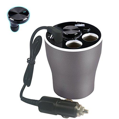 Car Power Socket (Soja KFZ-Ladegerät Cup Holder mit Bluetooth Headset Multifunktionale Car Power Adapter 12V/24V mit 2USB Ports und 2-socket Zigarettenanzünder Splitter)