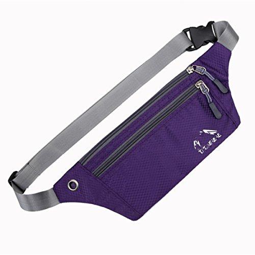GXYLLDS Cintura Pack Deporte Correr Fitness Viajes Música Impermeable Seguridad Noche Reflexivo Bolso De Teléfono Móvil Hombres Y Mujeres Correa De Correr,Purple-OneSize